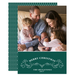 Elegant Bracket Holiday Photo Card -Dark Teal
