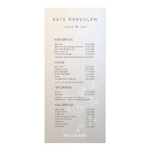 salon service menu rack cards zazzle