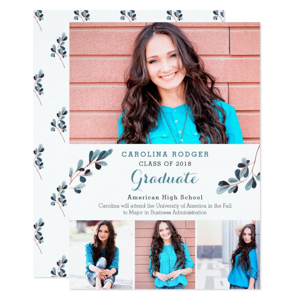Elegant Branches Photo Graduation Announcemet Card
