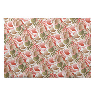 Elegant Brick Red and Olive Green Art Deco Pattern Placemat