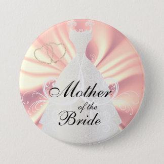 Elegant Bridal Dress on Rose Satin Pinback Button