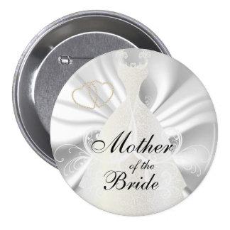 Elegant Bridal Dress on White Satin Pinback Button