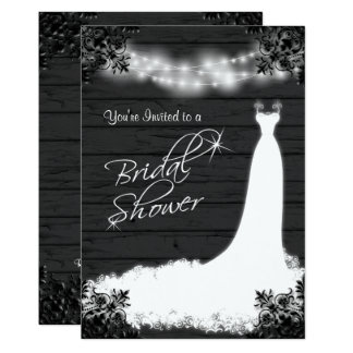 Elegant Bridal Gown on Rustic Black Wood Card