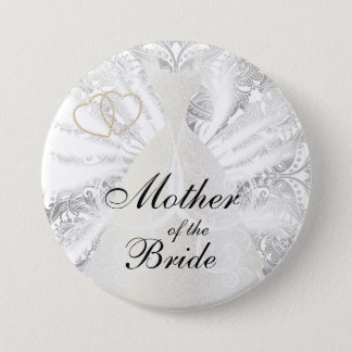 Elegant Bridal Party White Satin Design Pinback Button