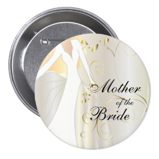 Elegant Bridal Party with Gold Accents Pinback Buttons