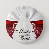 Elegant Bridal Party with Red Accents Pinback Button