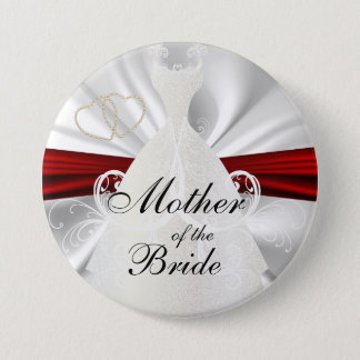 Elegant Bridal Party with Red & Gold Accents Pinback Button