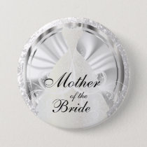 Elegant Bridal Party with White & Silver Accents Button