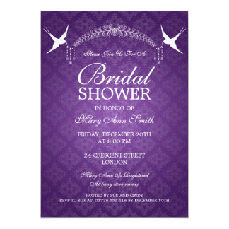 Elegant Bridal Shower Birds & Diamonds Purple Card