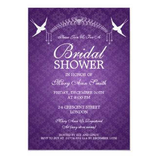 Elegant Bridal Shower Birds & Diamonds Purple Personalized Invitations