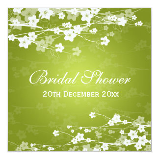 Elegant Bridal Shower Cherry Blossom Lime Green 5.25x5.25 Square Paper Invitation Card
