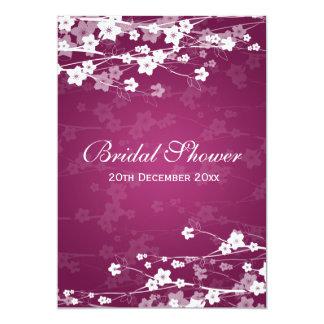 Elegant Bridal Shower Cherry Blossom Plum Card