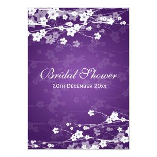 Elegant Bridal Shower Cherry Blossom Purple 5x7 Paper Invitation Card