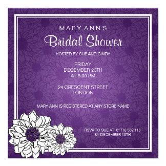 Elegant Bridal Shower Dahlia Floral Purple Personalized Invite