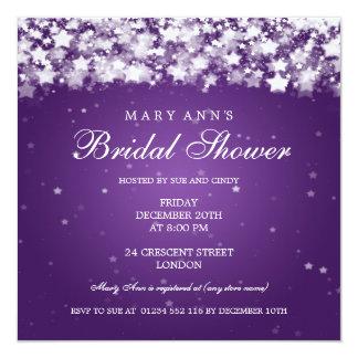 Elegant Bridal Shower Dazzling Stars Purple Personalized Invite