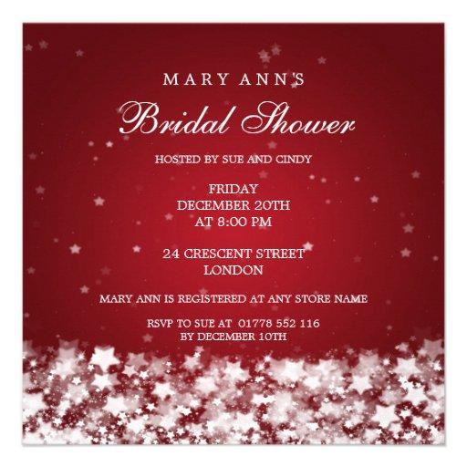 Elegant Bridal Shower Dazzling Stars Red Personalized Invitations