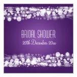 "Elegant Bridal Shower  Dotted Purple 5.25"" Square Invitation Card"