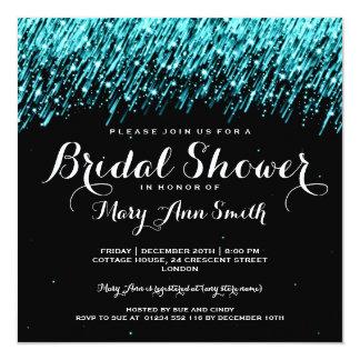 Elegant Bridal Shower Falling Stars Turquoise Invitation
