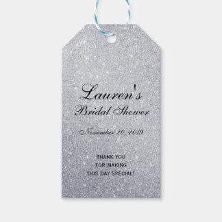 Elegant Bridal Shower Favor Tags Silver Glitter