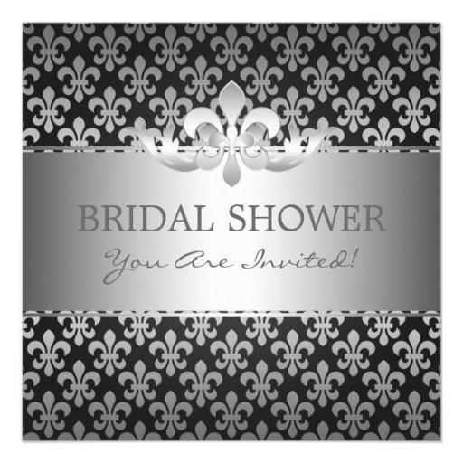 Elegant Bridal Shower Fleur De Lis Black Personalized Announcement