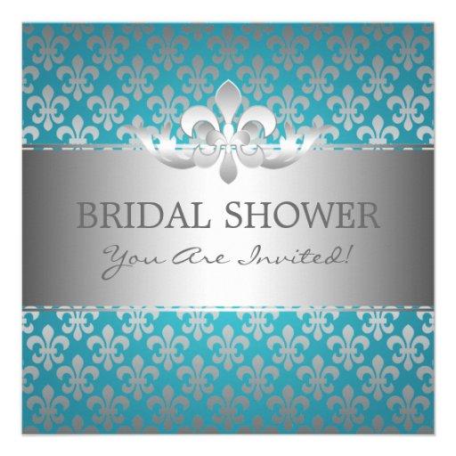 Elegant Bridal Shower Fleur De Lis Blue Personalized Invite