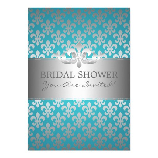 Elegant Bridal Shower Fleur De Lis Blue Personalized Announcement
