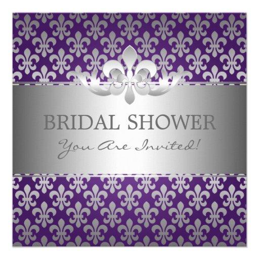 Elegant Bridal Shower Fleur De Lis Purple Invitations