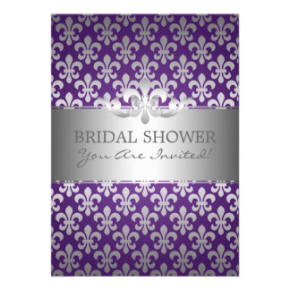 Elegant Bridal Shower Fleur De Lis Purple Invitation