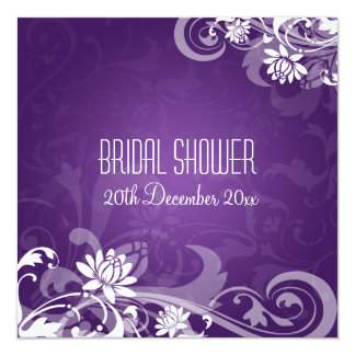 Elegant Bridal Shower  Floral Swirls Purple Card