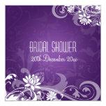 Elegant Bridal Shower  Floral Swirls Purple Custom Announcements