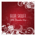 Elegant Bridal Shower  Floral Swirls Red Personalized Invitations