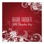 Elegant Bridal Shower  Floral Swirls Red Personalized Invitations