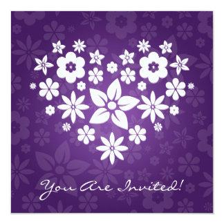 Elegant Bridal Shower Flowery Heart Purple Card