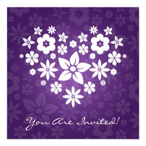 Elegant Bridal Shower Flowery Heart Purple Custom Invite