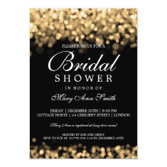 Elegant Bridal Shower Gold Lights 5x7 Paper Invitation Card