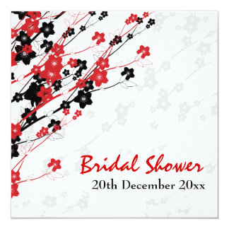 Elegant Bridal Shower Japanese Flowers Red 5.25x5.25 Square Paper Invitation Card