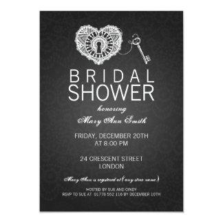 Elegant Bridal Shower Key To My Heart Black 5x7 Paper Invitation Card