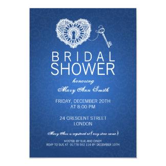 Elegant Bridal Shower Key To My Heart Blue Invites