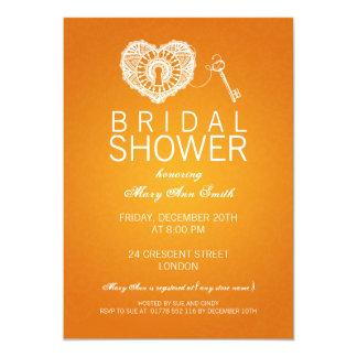 Elegant Bridal Shower Key To My Heart Orange Cards