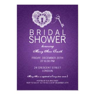 Elegant Bridal Shower Key To My Heart Purple Card