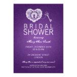 "Elegant Bridal Shower Key To My Heart Purple 5"" X 7"" Invitation Card"