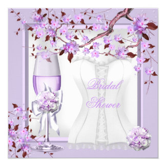 Elegant Bridal Shower Lavender Purple Lilac 4b 5.25x5.25 Square Paper Invitation Card