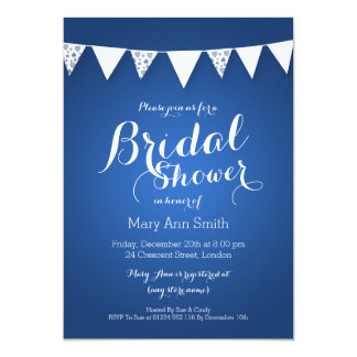 Elegant Bridal Shower Love Bunting Blue Card