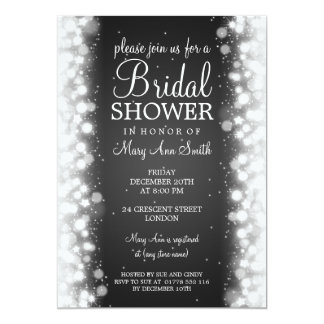 Elegant Bridal Shower Magic Sparkle Black Card