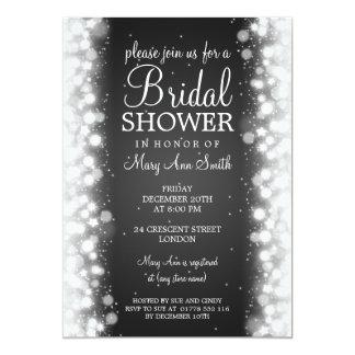 Elegant Bridal Shower Magic Sparkle Black Invitation