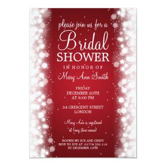 Elegant Bridal Shower Magic Sparkle Red Card