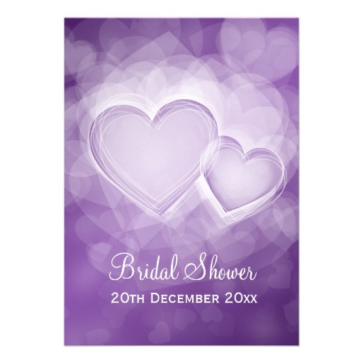 Elegant Bridal Shower Modern Hearts Purple Personalized Announcements