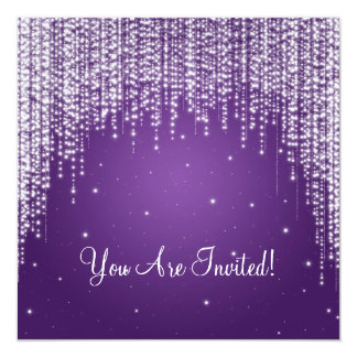 Elegant Bridal Shower Night Dazzle Purple Card