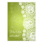 Elegant Bridal Shower Paisley Lace Lime Green 5x7 Paper Invitation Card