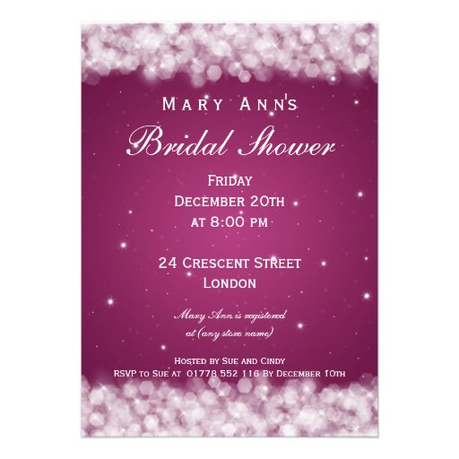 Elegant Bridal Shower Party Sparkle Pink Berry Personalized Invitations